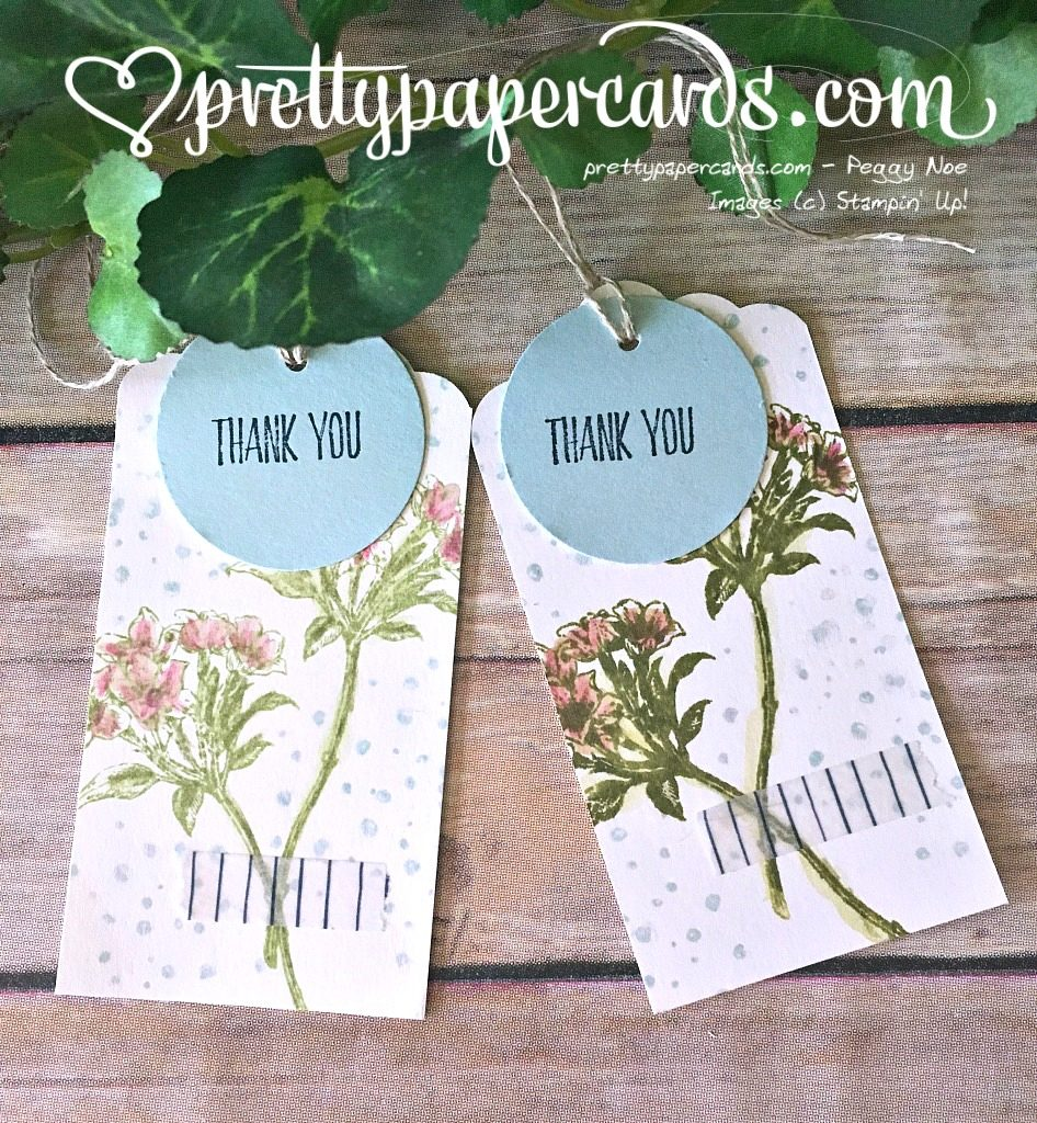 Stampin'Up! Avant Garden Stamp Set, Sale-a-Bration 2017, Thank You Tags, handstamped, #peggynoe #prettypapercards