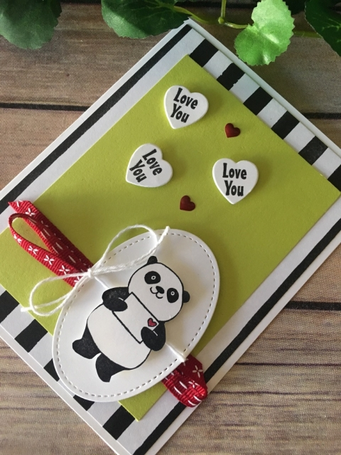 Stampin' Up! Party Pandas Love Card - Prettypapercards - stampinup