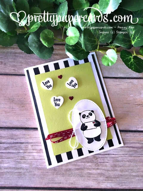 Stampin' Up! Party Pandas Valentine Card - Peggy Noe - stampinup