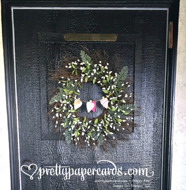 Stampin' Up! Valentine Banner Wreath - Peggy Noe - stampinup