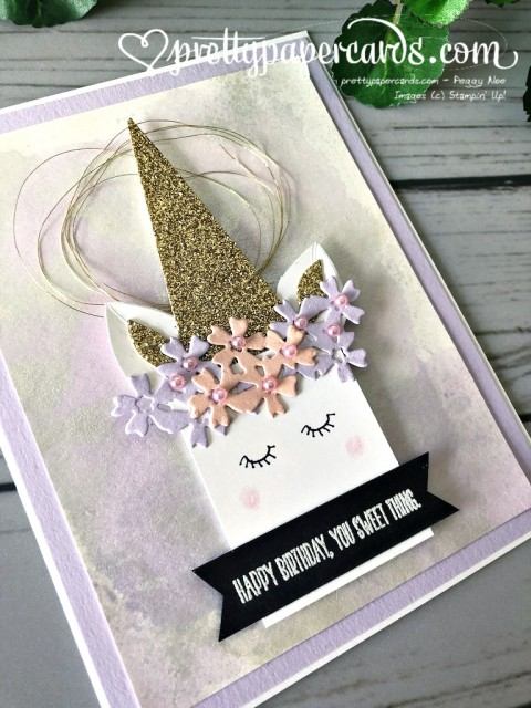 Stampin' Up! Birthday Unicorn Card - prettypapercards - stampinup