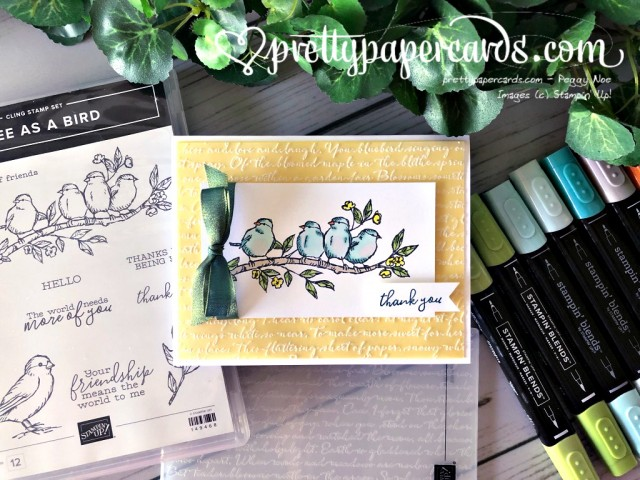 Stampin' Up! Free as a Bird Scripty Thank You - Peggy Noe - stampinup