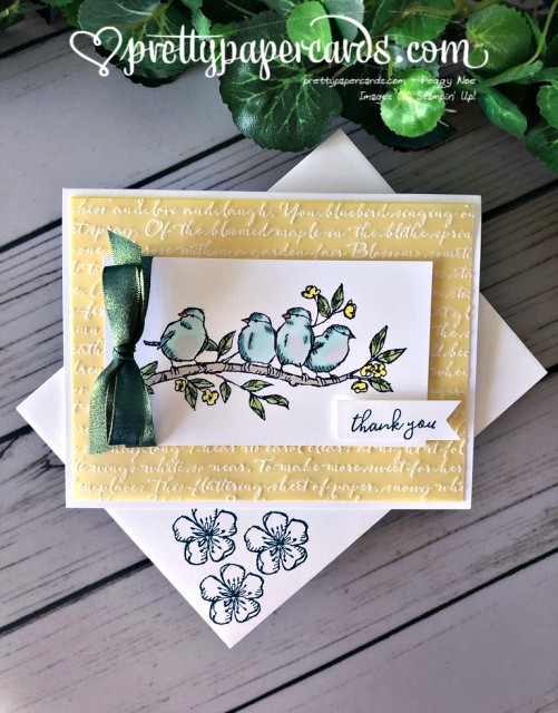 Stampin' Up! Free as a Bird Scripty Thank You - prettypapercards - stampinup