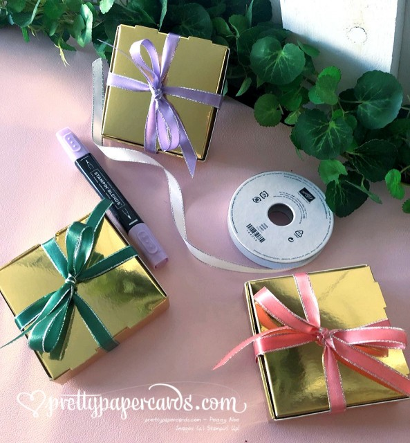 Stampin' Up! Gold Mini Pizza Box - Pretty Paper Cards - stampinup