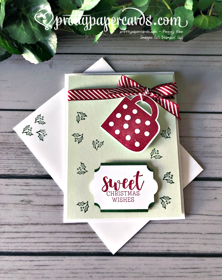 Handmade holiday card using the Stampin\' Up! reversible stamp set Cup of Christmas; created by Peggy Noe of Pretty Paper Cards #stampinup #stampingup #christmas #christmascard #peggynoe #prettypapercards #cupofchristmas