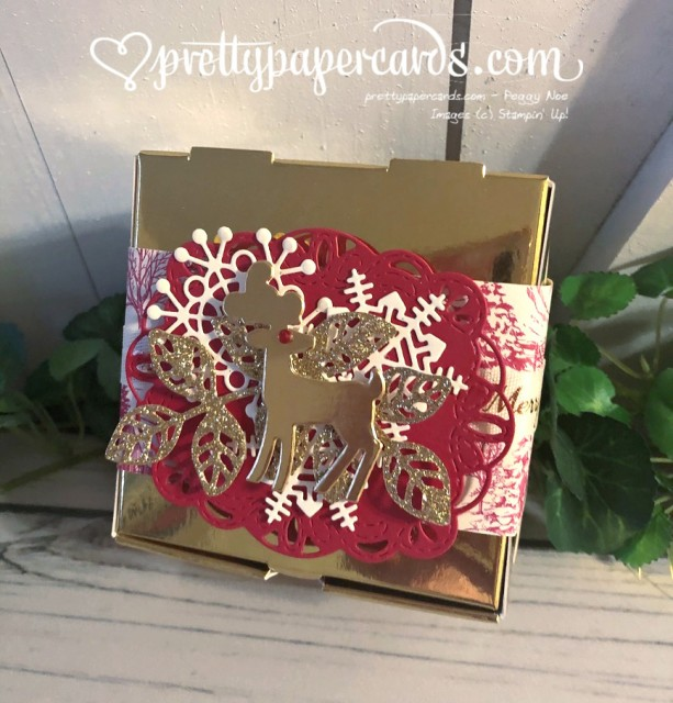 Stampin' Up! Detailed Deer Gold Pizza Box - Peggy Noe - stampinup