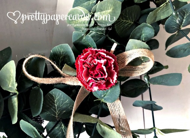 Handmade Paper Flower on Wreath by Peggy Noe