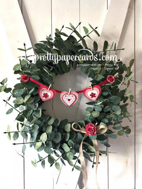 Valentine Wreath with Paper Hearts by Peggy Noe