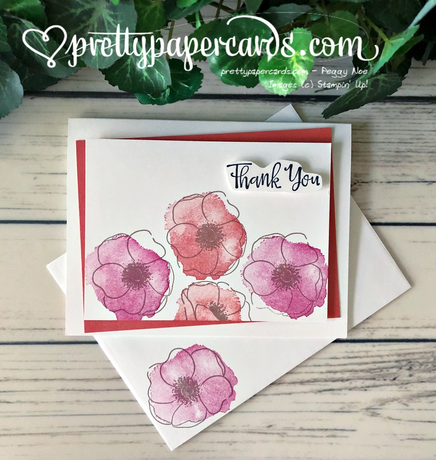 Handmade Thank You Card made using the Stampin\' Up! Painted Poppies stamp set; created by Peggy Noe of Pretty Paper Cards
