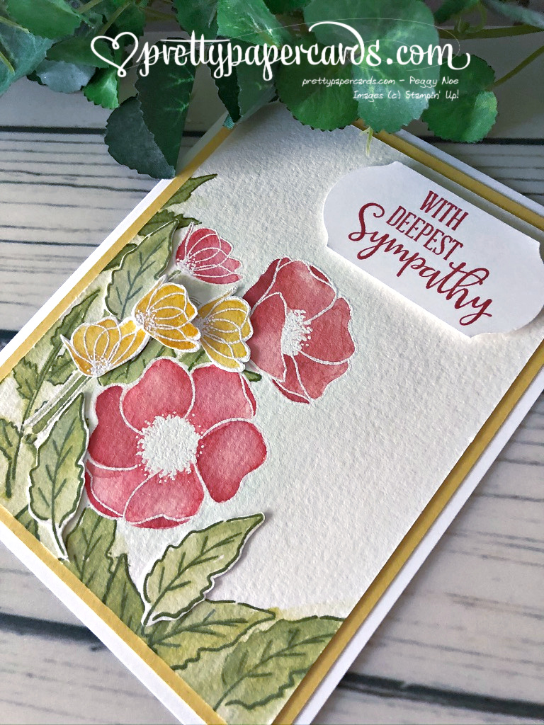 Handmade sympathy card made using Stampin\' Up! Peaceful Poppies; created by Peggy Noe of Pretty Paper Cards