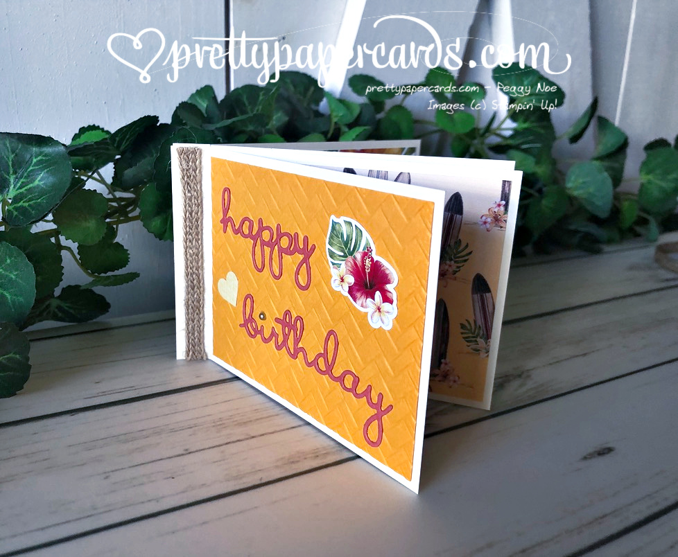Handmade birthday booklet made with Stampin\' Up! Tropical Oasis Memories & More cards and Well Written Dies; created by Peggy Noe of Pretty Paper Cards