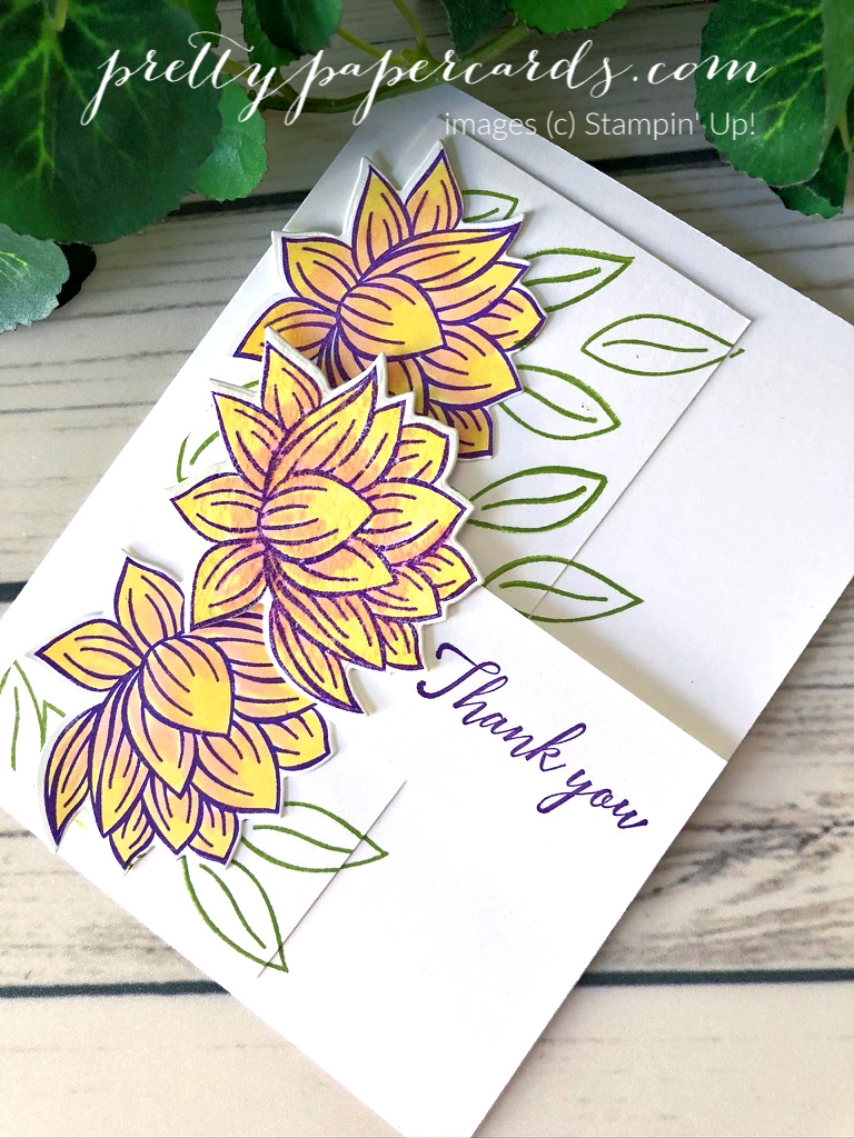 A handmade thank you card with a panel of lily blooms, using the Stampin\' Up! Lovely Lily Pad stamp set and the Lily Pad Dies; created by Peggy Noe of Pretty Paper Cards
