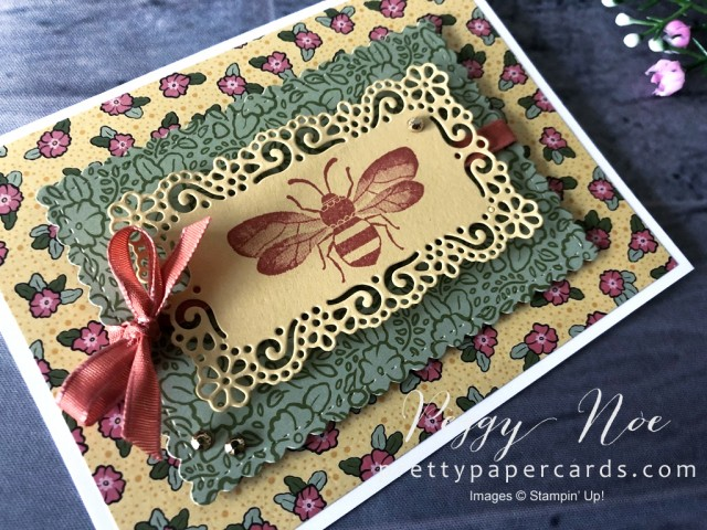 Ornate Garden Bee Card Stampin' Up! Pretty Paper Cards