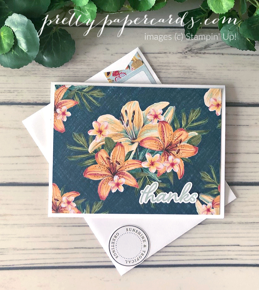 Handmade thank you card made with Stampin\' Up! Tropical Oasis Memories & More Cards; created by Peggy Noe of prettypapercards.com