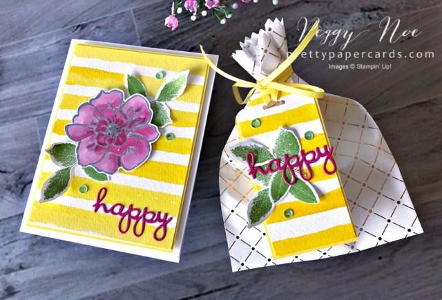 Happy Watercolor Stripe Card Peggy Noe
