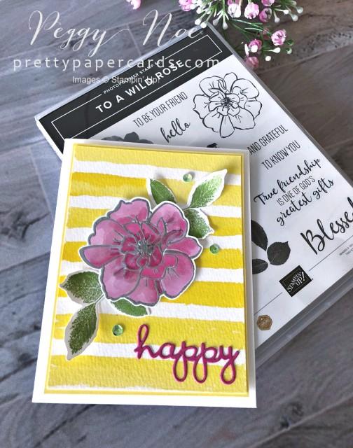 Happy Watercolor Stripe Card Pretty Paper Cards
