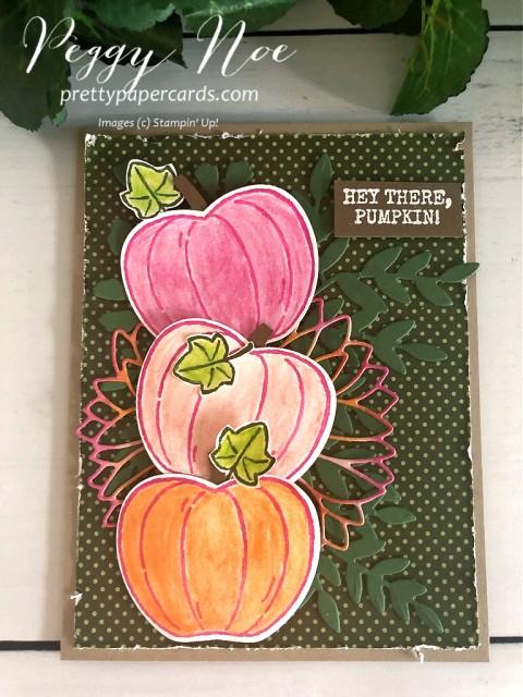 #harvesthellos #pumpkins #pinkpumpkins #fallcard #stampinup #peggynoe #prettypapercards