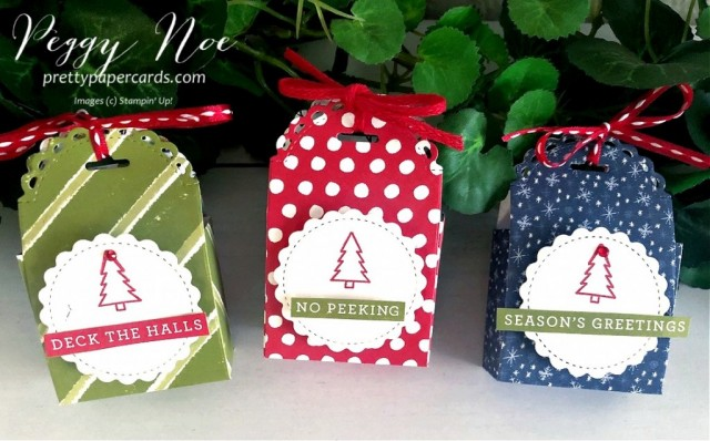 #littletreatboxdies #holidaytreatboxes #christmastreatboxes #stampinup #stampingup #peggynoe #prettypapercards