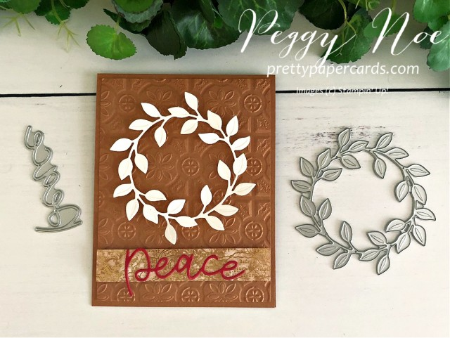 #wreath #wreathcard #holidaywreath #christmaswreath #wreathofpeace #stampinup #peggynoe #prettypapercards