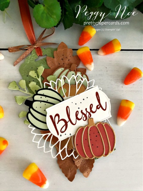 Fall Blessed Tag made with Wild Rose Stamp Set, Autumn Essentials Dies and Sunflower Dies by Stampin' Up! Peggy Noe of Pretty Paper Cards