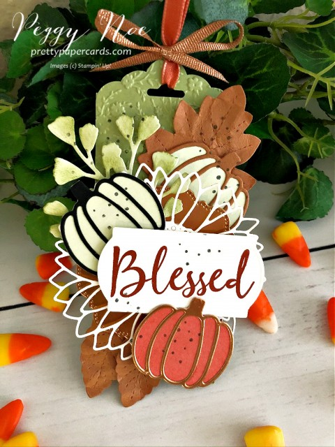 Fall Pumpkin Tag made with Wild Rose Stamp Set, Autumn Essentials Dies and Sunflower Dies by Stampin' Up! Peggy Noe of Pretty Paper Cards