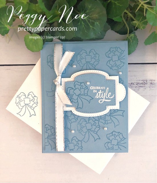 Gift Wrapped Card and Stamp Set by Stampin' Up! designed by Peggy Noe of prettypapercards #giftwrapped #giftbow #stampinup #peggynoe