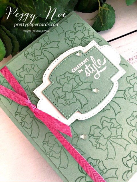 Gift Wrapped Stamp Set by Stampin' Up! Bow Card 2 designed by Peggy Noe of prettypapercards #giftwrapped #giftbow #stampinup #peggynoe