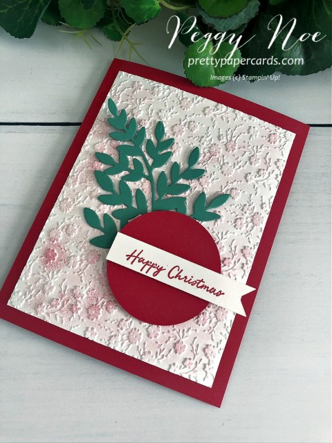 Handmade Christmas card using Stampin' Up! Warm Hugs Stamp Set by Peggy Noe of prettypapercards.com #christmascard #warmhugs