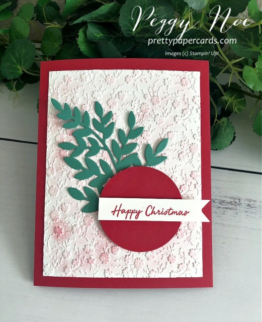 Handmade Christmas card using Stampin' Up! Warm Hugs Stamp Set and Ornate Floral 3D Embossing Folder; by Peggy Noe of prettypapercards.com #christmascard #warmhugs