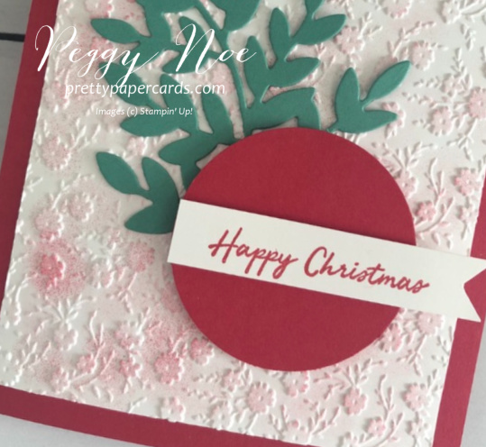 Easy handmade Christmas card using Stampin' Up! Warm Hugs Stamp Set and Ornate Floral 3D Embossing Folder; by Peggy Noe of prettypapercards.com #christmascard #warmhugs