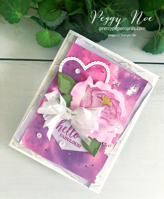 Magenta Madness Hello Fabulous Watercolored background with Peony Dies by Stampin' Up!