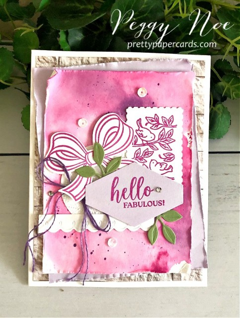 Magenta Madness Hello Fabulous Watercolored background with Peony Dies by Stampin' Up! Bow Builder Punch