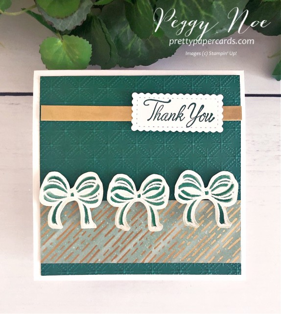 Handmade Square Thank You Card using the Gift Wrapped and Parcels & Petals stamp sets by Stampin' Up! Peggy Noe of prettypapercards.com #bows #thankyoucard $giftwrapped #squarecard