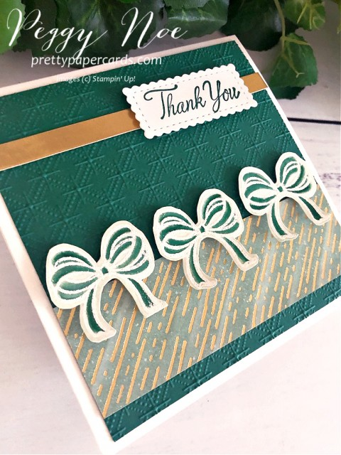 Handmade Square Thank You Card using the Gift Wrapped stamp set by Stampin' Up! Designed by Peggy Noe of prettypapercards.com #bows #thankyoucard $giftwrapped #squarecard