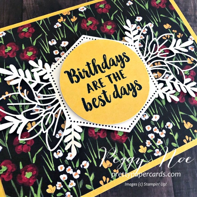 Handmade birthday card using Stampin' Up! Beautiful Friendship stamp set and Forever Gold Laser-Cut Paper, designed Peggy Noe of prettypapercards.com #birthdaycard #beautifulfriendship #flower&fieldpaper
