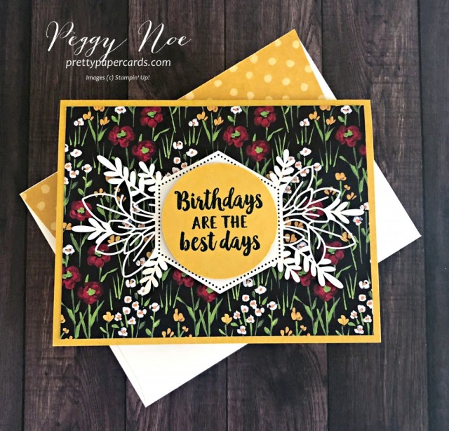 Handmade birthday card using Stampin' Up! Beautiful Friendship stamp set and Forever Gold Laser-Cut Paper, designed by Peggy Noe of prettypapercards.com #birthdaycard #beautifulfriendship #flower&fieldpaper