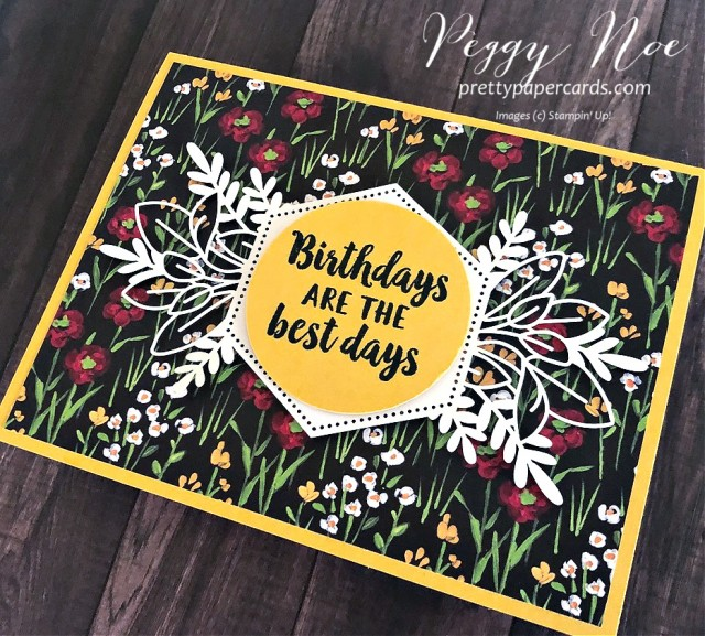 Handmade birthday card using the Stampin' Up! Beautiful Friendship stamp set and Forever Gold Laser-Cut Paper, designed by Peggy Noe of prettypapercards.com #birthdaycard #beautifulfriendship #flower&fieldpaper