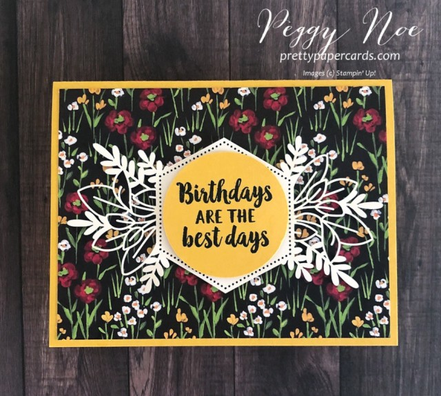 Handmade birthday card using Stampin' Up! Beautiful Friendship stamp set, Forever Gold Laser-Cut Paper, designed by Peggy Noe of prettypapercards.com #birthdaycard #beautifulfriendship #flower&fieldpaper