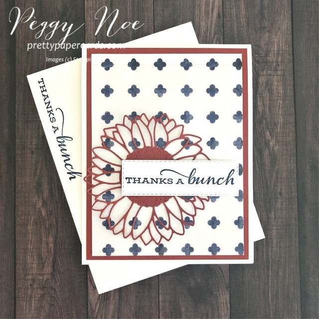 Handmade Thanks a bunch Thank You Card designed by Peggy Noe of prettypapercards #thankyou #thankyoucard #celebratesunflowers