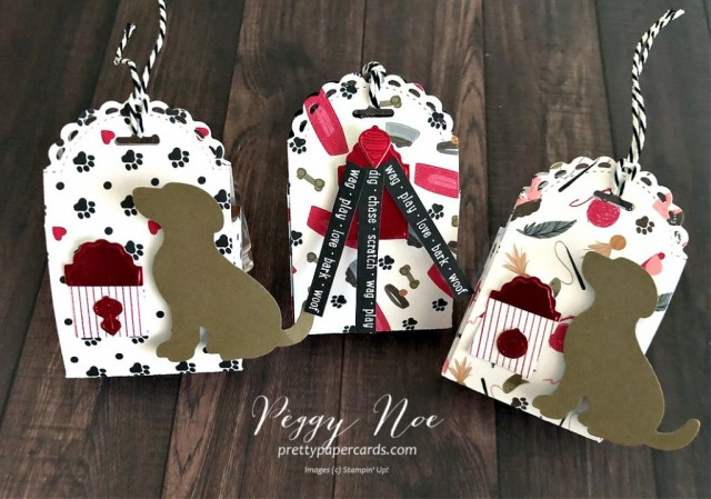 Holiday Dog or Cat Treat Box using Stampin' Up! Dies and Playful Pets Paper. designed by Peggy Noe of Prettypapercards.com #treatbox #dogtreat #cattreat #littletreatbox#littletreatboxdies