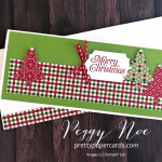 Handmade holiday card. slimline card, using Stampin
