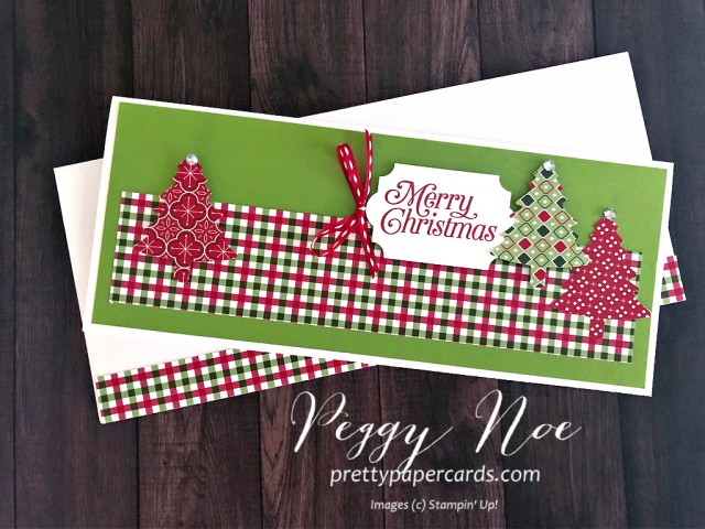 Handmade holiday card. slimline card, using Stampin' Up! Perfectly Plaid Paper by Peggy Noe of prettypapercards.com