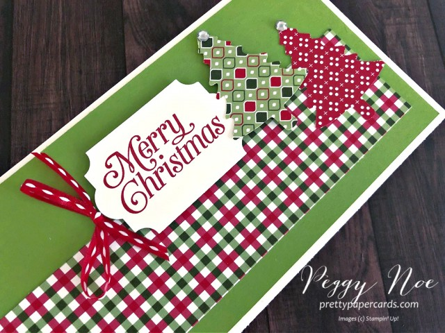 Handmade holiday card. slimline card, using Stampin' Up! Perfectly Plaid Paper by Peggy Noe of prettypapercards.com #christmascard #slimlinecard #perfectlyplaid