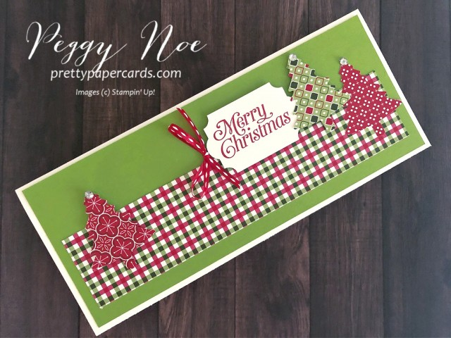 Handmade Christmas cards. slimline card, using Stampin' Up! Perfectly Plaid Paper by Peggy Noe of prettypapercards.com #christmascard #slimlinecard #perfectlyplaid