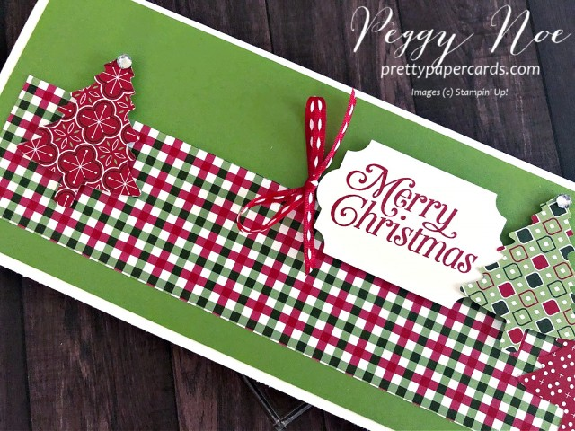 Handmade Christmas card. slimline card, using Stampin' Up! Perfectly Plaid Paper by Peggy Noe of prettypapercards.com #christmascard #slimlinecard #perfectlyplaid