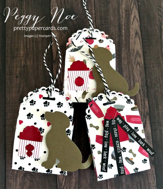Holiday Dog or Cat Treat Box using Stampin' Up! Little Treat Box Dies and Playful Pets Paper. created by Peggy Noe of Prettypapercards.com #treatbox #dogtreat #cattreat #littletreatbox#littletreatboxdies