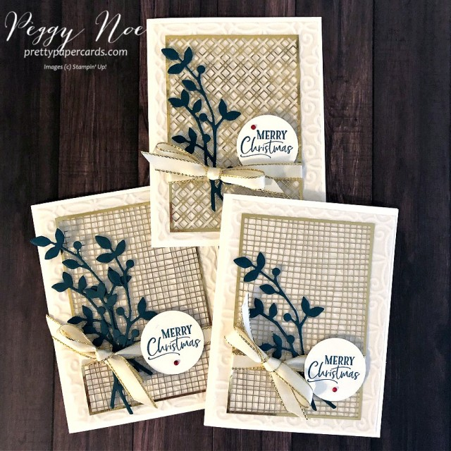 Handmade Plush Gold & White Christmas Card Stampin' Up! Plush Poinsettia Paper and For Unto Us stamp set; Peggy Noe of prettypapercards.com