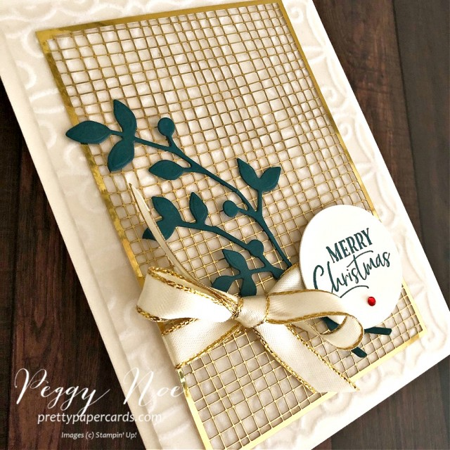 Handmade Plush Gold & White Christmas Card using Stampin' Up! Plush Poinsettia Paper and For Unto Us stamp set; Peggy Noe of prettypapercards.com
