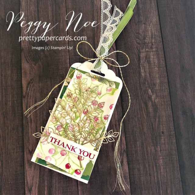 Thank You Tag made with Poinsettia Petals Stamp Set by Stampin' Up! designed by Peggy Noe of prettypapercards.com #poinsettiapetals #thankyoutag #holidaytag