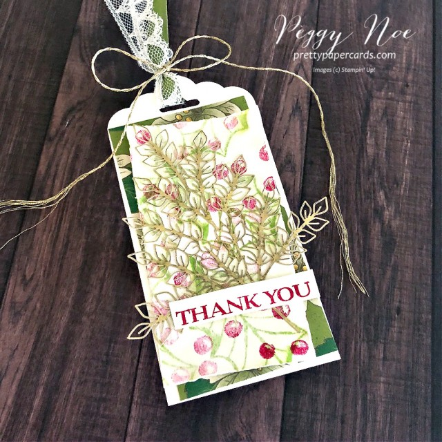 Thank You Tag created with the Poinsettia Petals Stamp Set by Stampin' Up! designed by Peggy Noe of prettypapercards.com #poinsettiapetals #thankyoutag #holidaytag